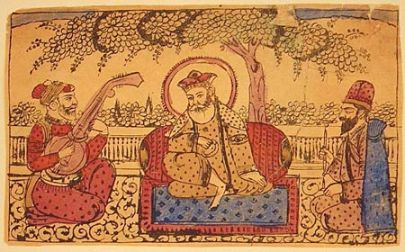 """Guru Nanak with Mardana (left) and Bala Coloured woodcut, Amritsar or Lahore, about 1875"" (photo: sikhsinkuwait.wordpress.com)"